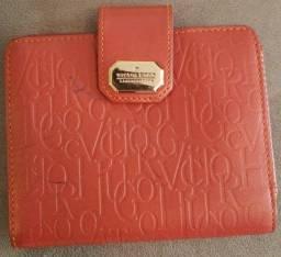 Carteira Victor Hugo original toda em couro vermelha