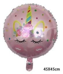 Kit 2 balões metalizados Reutilizáveis Unicórnio