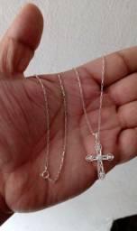 Cordão + Crucifixo de Prata 925 (legítima) ZERO