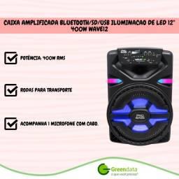 Caixa Amplificada Bluetooth/Sd/Usb Iluminação de Led 12'' 400W