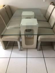Mesa de Jantar 6 Cadeiras de Couro Bege Claro