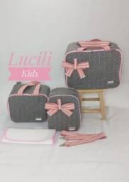 Título do anúncio: Bolsas Maternidade luxo rosa com cinza