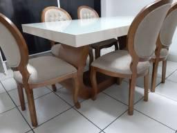 Linda -Mesa retangular + 6 cadeiras modelo medalhão