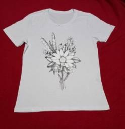 Kit 3 Blusa Feminina T Shirt Estampada G - Últimas Peças