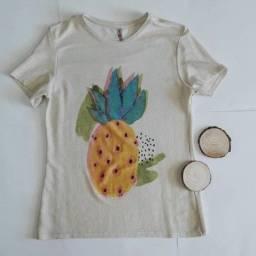 Camiseta M Abacaxi c/ Brilho - Desapego R$15,00
