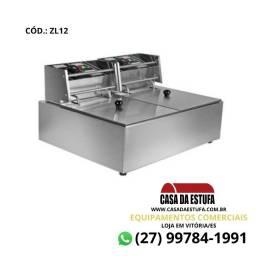 Fritadeira Elétrica com Tampa Stevan Aço Inox 12 Lts Profissional - ZL12