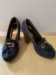Sapato mocassim salto bloco 37