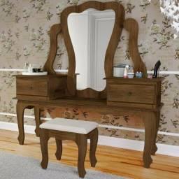 Penteadeira Luxo com Espelho 02 Gavetas + Banqueta