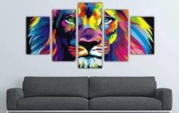 Quadro mosaico. Leão aqeuarela