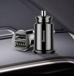 Carregador Veicular Pequeno USB 3,1A BASEUS NOVO