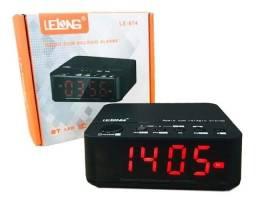Rádio relógio digital despertador bluetooth lelong le ? 674.