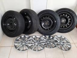 4 Pneus Bridgestone + Roda + Calota  215/60/R16 (Parcelo em 6x)