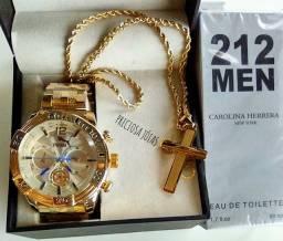 Kits relógios e cordão banhado carantia de 1 ano
