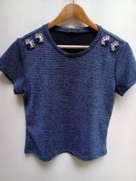 Blusa Azul Brilhosa / Aramodu / Tam: M