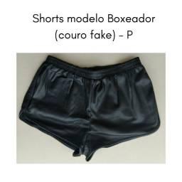 Shorts Boxeador Couro (fake) -P