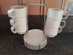 6 xicaras de cafezinho com suporte metal