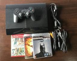 PlayStation 3 Slim + 3 Jogos - cartão 10x sem juros