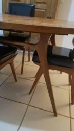 Mesa de Jantar Pé Palito - Anos 60 original - Caviúna maciça