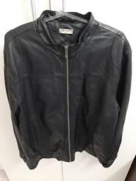 Jaqueta de couro preto tam g