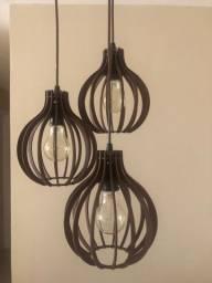 Pendente De Madeira Triplo Lustre Vintage com lâmpadas de filamento