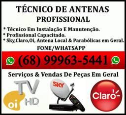 Técnico de Antenas, Instalação e Manutenção de Antenas em Geral.
