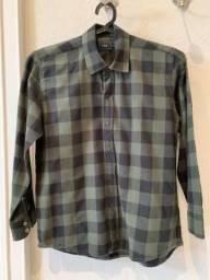 Camisa de flanela VR kids tam 6 xadrez de verde e preto, usado comprar usado  Bauru