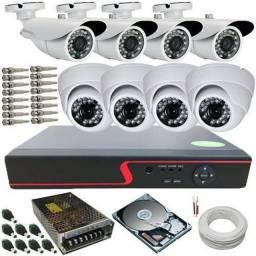 Kit Cftv com 8 câmeras de segurança+ Microfone espião!.