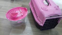 Caixa de transporte para gatos + porta ração 1Kg