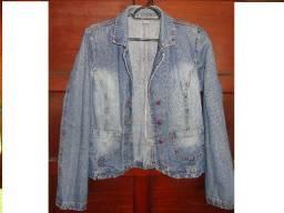 Jaqueta feminina jeans estilo blazer tamanho 38