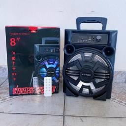Caixa de Som Bluetooth, Microfone e Controle Remoto