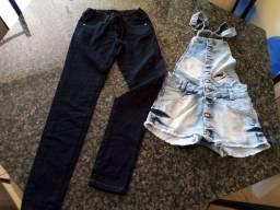 Calça jeans e jardineira para menina 14 anos