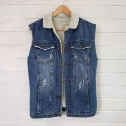 Casaco jeans e lã