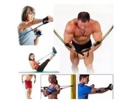 Kit Tubing Elástico Extensor 11 Itens musculação Power Resistência