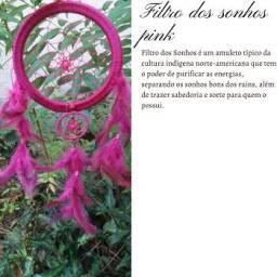Filtro Dos Sonhos Pink Grande 45 Cm Artesanal Maravilhoso