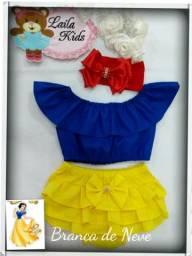 Kit Calcinha Infantil Bunda Rica Tiara + blusa ciganinha