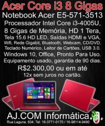 Notebook Acer Core i3, 8 GB de Memória, Tela 15.