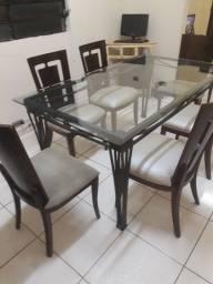Mesa de ferro tampo de vidro com 6 cadeiras