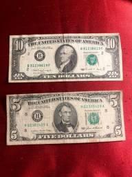 Dólares Antigos - Cédulas de $5 e $10