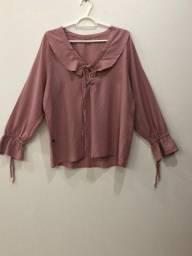 Camisa rosa babados