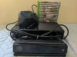 xbox one fat 500gb com um controle e um kinect + 13 jogos