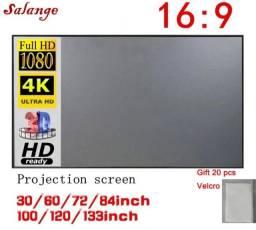 """Tela portátil de projeção com velcro 4k ultra hd 100"""" polegadas - 1,25m x 2,2m 16:9 Novo"""