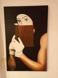 Quadro palhaço lendo livro