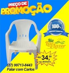 Cadeira Plástica Poltrona Extra Forte C/ Antiderrapante Silicone