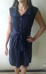 Vestido Azul Marinho de Botão Zipper-Zipper (tamanho P/M)