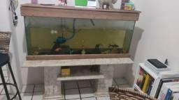 Aquário, móvel de mármore e peixe