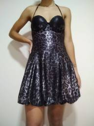 vestido curto com bojo preto com prata