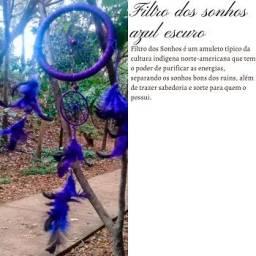 Filtro Dos Sonhos Azul Grande 45 Cm Artesanal Maravilhoso