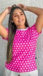 T-shirt feminina blusa poá