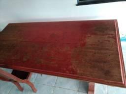 Mesa e 4 cadeiras de madeira angelin