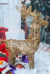 Renna dourada  com luz de Natal
